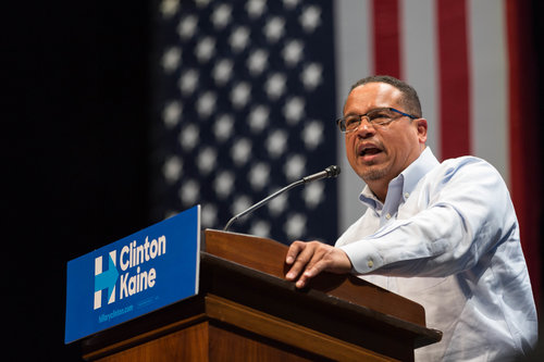 Rep. Keith Ellison speaks at a Hillary Clinton campaign event at the University of Minnesota in October 2016. Credit: Lorie Shaull via Wikimedia Commons.